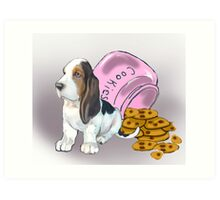 Basset Hound and Cookies Art Print