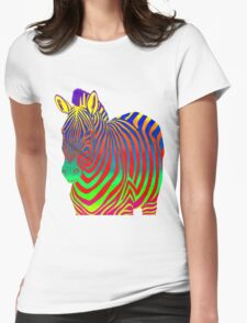 Psychedelic Zebra Womens Fitted T-Shirt