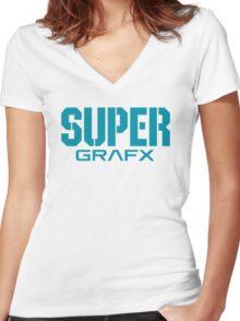 Super Grafx Logo Women's Fitted V-Neck T-Shirt