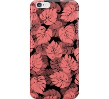 Big Monstera Tropical Leaf Hawaii Rain Forest Shell Pink on Black iPhone Case/Skin
