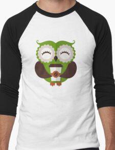 Funny owl who loves coffee. Men's Baseball ¾ T-Shirt