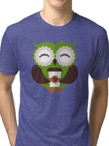 Funny owl who loves coffee. Tri-blend T-Shirt