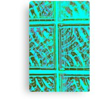 BLUE GLASS BLOCKS FROM THE BARN Canvas Print