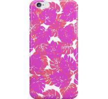 Big Monstera Tropical Leaf Hawaii Rain Forest Purple, Rose and Fuchsia Leaves on White iPhone Case/Skin
