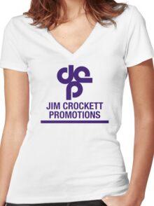 Jim Crockett Promotions Logo Women's Fitted V-Neck T-Shirt