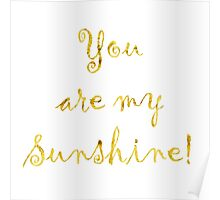 You Are My Sunshine Gold Faux Foil Metallic Glitter Quote Isolated on White Background Poster