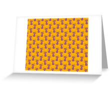 Purple and Yellow Fancy Cat Pattern Greeting Card