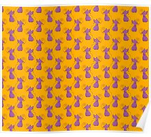 Purple and Yellow Fancy Cat Pattern Poster