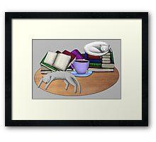 Cat Nap with Books & Tea (White & Tabby) Framed Print