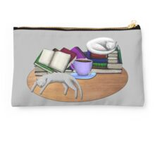 Cat Nap with Books & Tea (White & Tabby) Studio Pouch