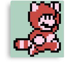 Pixel raccoon Mario Canvas Print