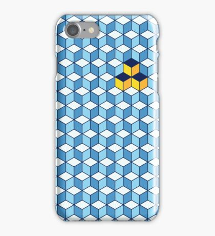 Blue & Orange Tiling Cubes iPhone Case/Skin
