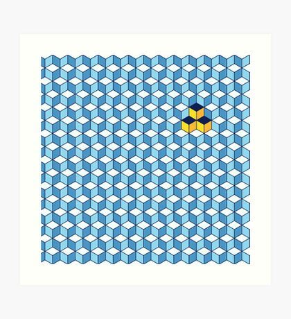 Blue & Orange Tiling Cubes Art Print
