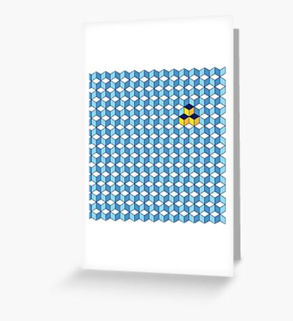 Blue & Orange Tiling Cubes Greeting Card