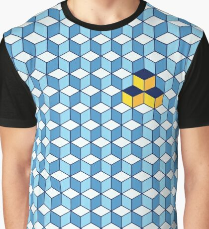 Blue & Orange Tiling Cubes Graphic T-Shirt