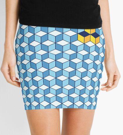 Blue & Orange Tiling Cubes Mini Skirt