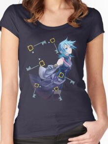 Aqua from Kingdom hearts surrounded by keyblades Women's Fitted Scoop T-Shirt