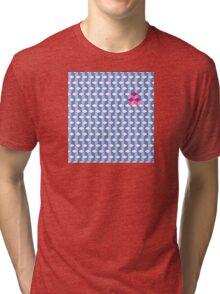 Blue & Pink Tiling Cubes Tri-blend T-Shirt