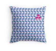 Blue & Pink Tiling Cubes Throw Pillow