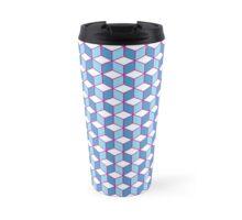 Blue & Pink Tiling Cubes Travel Mug