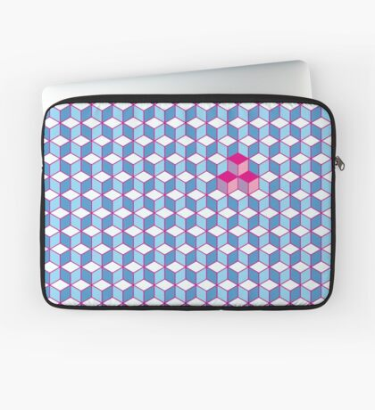 Blue & Pink Tiling Cubes Laptop Sleeve