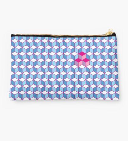 Blue & Pink Tiling Cubes Studio Pouch