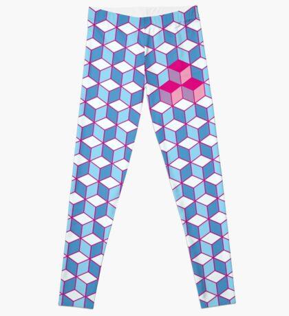 Blue & Pink Tiling Cubes Leggings