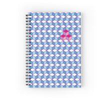 Blue & Pink Tiling Cubes Spiral Notebook