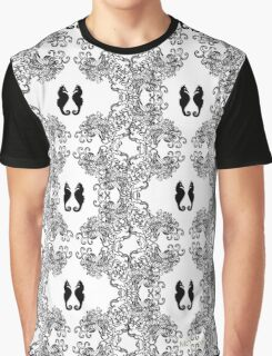 Abstract Black and White Sketch with Seahorses Graphic T-Shirt