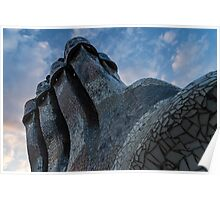 Whimsical Chimneys - Antoni Gaudi's Trencadis Mosaics Echo the Colors of the Sky Poster