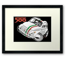 Fiat 500D caricature white Framed Print