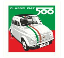 Fiat 500 Italian flag Art Print