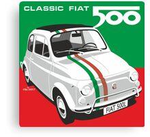 Fiat 500 Italian flag Canvas Print