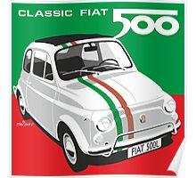 Fiat 500 Italian flag Poster