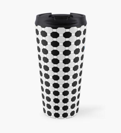 Grey & Red Tiling Tessellation Travel Mug