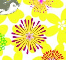 Yellow Flower Burst & Bird Sticker