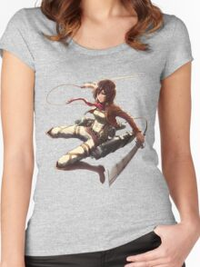 mikasa military design attack on titan Women's Fitted Scoop T-Shirt