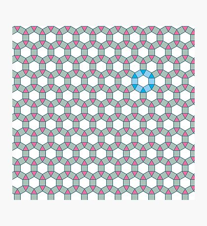Tiling Tessellation In Green, Blue & Pink Photographic Print