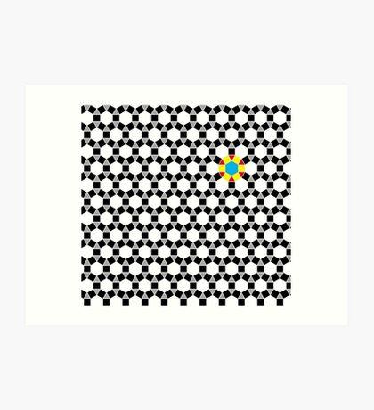 Black & White Tessellation Pattern Art Print