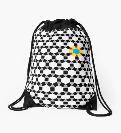 Black & White Tessellation Pattern Drawstring Bag