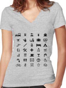 International travel symbols in BLACK Women's Fitted V-Neck T-Shirt