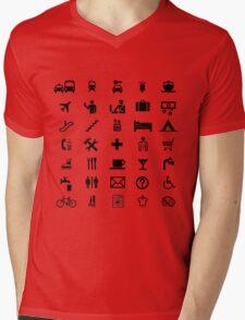 International travel symbols in BLACK Mens V-Neck T-Shirt