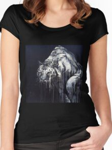 Black and White Abstract Painted Tiger Women's Fitted Scoop T-Shirt