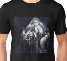 Black and White Abstract Painted Tiger Unisex T-Shirt