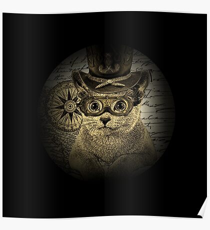 Cheeky Steampunk Cat with Goggles and Top Hat Poster
