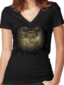 Cheeky Steampunk Cat with Goggles and Top Hat Women's Fitted V-Neck T-Shirt