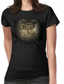 Cheeky Steampunk Cat with Goggles and Top Hat Womens Fitted T-Shirt