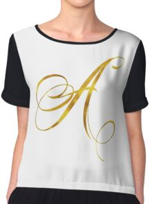 Letter A Initial Gold Faux Foil Metallic Glitter Monogram Isolated on White Background Chiffon Top