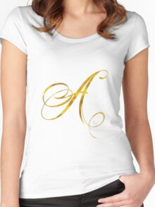 Letter A Initial Gold Faux Foil Metallic Glitter Monogram Isolated on White Background Women's Fitted Scoop T-Shirt