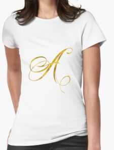 Letter A Initial Gold Faux Foil Metallic Glitter Monogram Isolated on White Background Womens Fitted T-Shirt